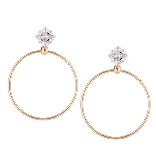 Style Earrings Fashion New Latest (Beuu Metal Earrings New Fashion Lady Women Drill Round Big Large Dangle Hoop Loop (Gold))