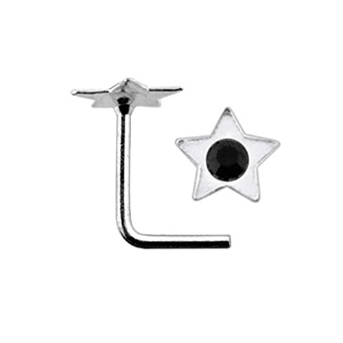 Black Jeweled Flat Star Top 22 Gauge Silver L Bend Nose Stud Piercing Jewelry ()