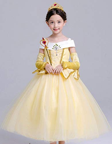 Beauty and Beast Sleeveless Princess Belle Costume Halloween Party Girls Dress, Size 9-10