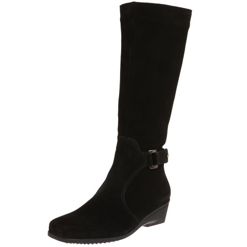 La Canadienne Suede Wedges - La Canadienne Women's Emilia Ankle Boot,Black,7 M US