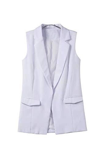 Women long noir Manteau Functionaryb Lady Manteau Poches Casual blanc Office Jacket B Gilet qxA5X