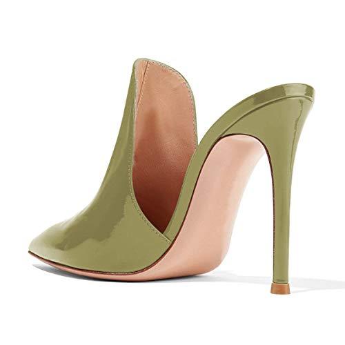 Stati Sandali Uniti Pantofole Lucida Scorrono 15 Scarpe D'ulivo Dimensioni 4 Tacchi Fsj Alti Donne Scivolare Cm Stiletto Su Mulattiere Degli 12 w5aCSTnq