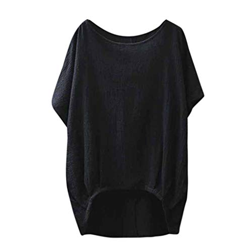 vermers Women Blouse Lady Linen Solid T Shirt Casual Plain Loose Batwing Sleeve Tshirts Asymmetrical Tops(2XL, Black)