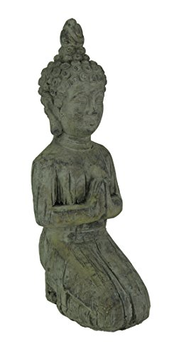 Three Hands Cement Outdoor Statues Distressed Finish Concrete Kneeling Buddha Garden Statue 5 X 12 X 4 Inches ()