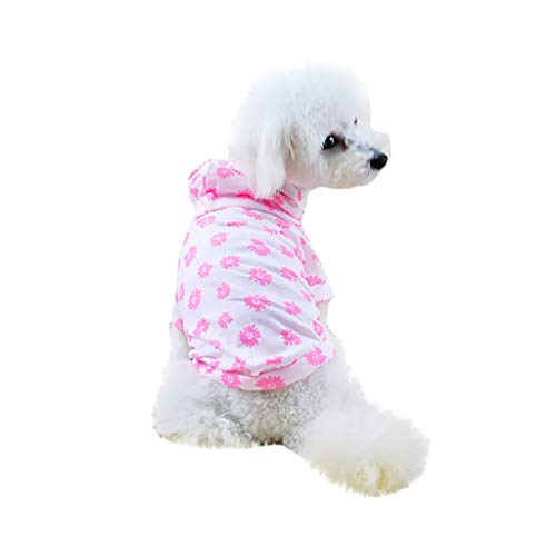 Pet Shirts,Hoodie Waterproof Breathable Dog Tshirt Buttons Flower Pattern Puppy Tops for Small Dog,Cat (XL, Pink) -