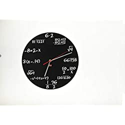 DCI Pop Quiz Clock, Black and White, Metal, 11-1/2 Diameter, Mathematics Teacher Gift, Wall Clock for Classroom, Home, Office
