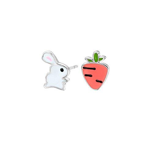 925 Sterling Silver Cute Cartoon White Bunny Rabbit Carrot Stud Earrings Pet Lover Birthday Gift Girl Kid (Ring 1 Carrot)