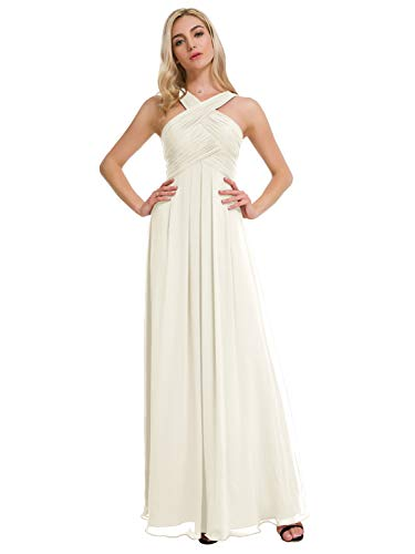 Alicepub Pleated Chiffon Bridesmaid Dresses Formal Party Evening Gown Maxi Dress for Women, Ivory, US6 ()