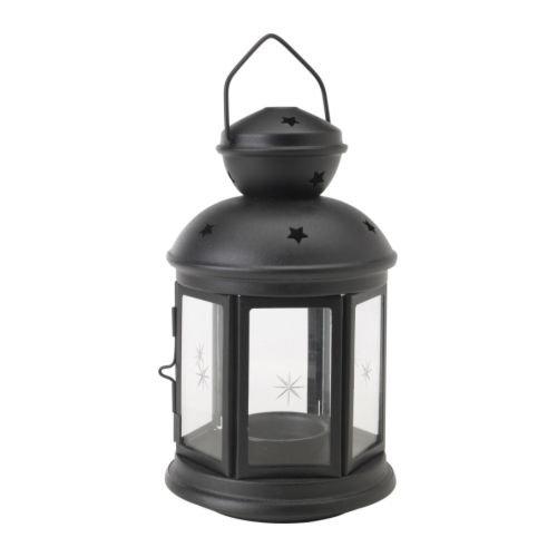 IKEA ROTERA - Lantern for tealight, black - 21 cm