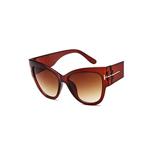 2019 Eye Sunglasses Women Oversized Frame Vintage Sun Glasses Sunglasses Uv400,Tea (Sonnenbrille Lanyard)