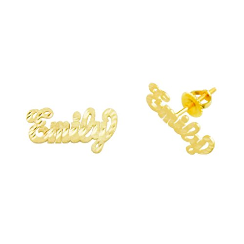 Plate Earring Jewelry Name Personalized (14K-Lee801A 14K Yellow Gold 3/4