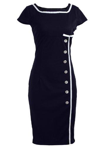 Navy Blue Sailor Nautical Pinup Rockabilly Vintage Retro Pencil Women's Dress