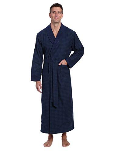 - Noble Mount Men's Flannel Fleece Lined Robe - Windowpane Checks - Navy Green - Small/Medium