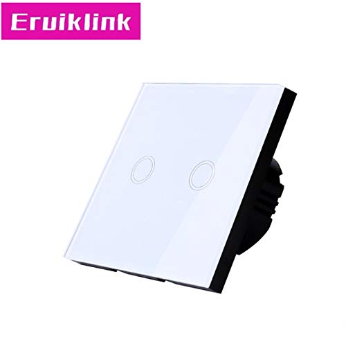 2 gang Switch Only EU UK Standard Wall Touch Switch,1 2 3 Gang 1 Way White Glass Panel RF433 Smart Home Wireless Remote Control Light Switches  (color  3gang Switch with RC)