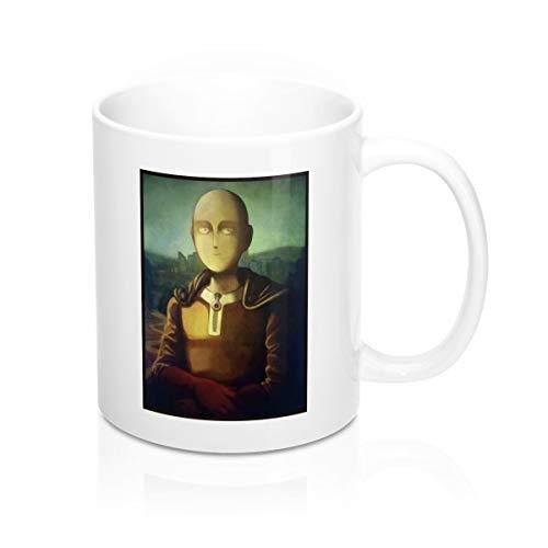 Mona Painting Lisa Smile - Saitama Smile Mona Lisa Oil Painting Art One Punch Man Inspired Tea Mugs & Coffee Cups 11oz