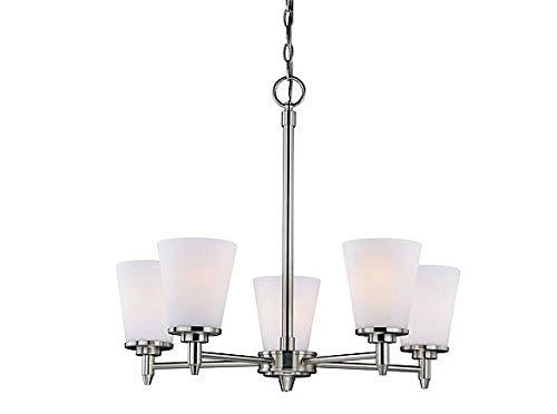 - Vaxcel H0164 Eastland 5 Light Chandelier, Satin Nickel Finish