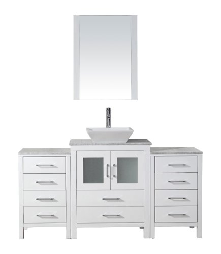 Virtu USA Dior 60 inch Single Sink Bathroom Vanity Set in White w/ Square Vessel Sink, Italian Carrara White Marble Countertop, Single Hole Polished Chrome, 1 Mirror - KS-70060-WM-WH