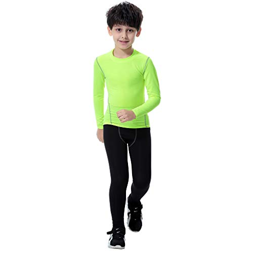 Tesuwel 2 Pcs Boys Girls Athletic Compression Pants and Shirts Base Layer Thermal Underwear Set Running Tights Leggings