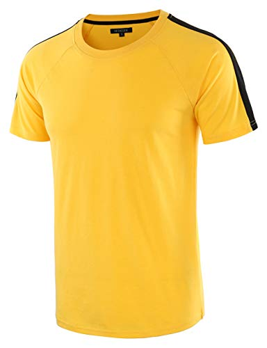 HETHCODE Men's Classic Vintage Retro Active Short Sleeve Crew Jersey Tee Shirt A.Gold/Black L -