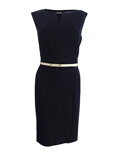 ELLEN TRACY Women's Petite Belted Sheath Dress (8P, Black)