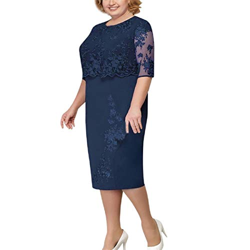 FAPIZI Womens Plus Size Lace Patchwork Dress Elegant Mother of Bride Dress Soft Comfy Cocktail Formal Dresses Navy ()