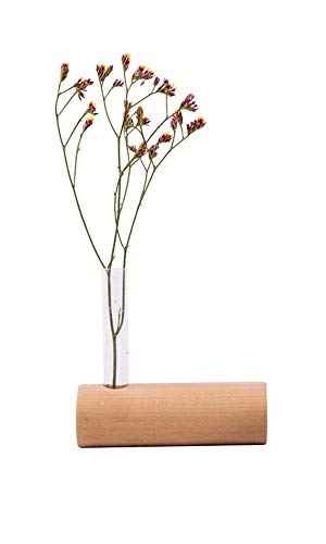 Tiandihe Ikebana Glass Bud Vases for Flowers,Beech Wood Block Vase Home Office Farmhouse Decor for Desk Linving Room Plant
