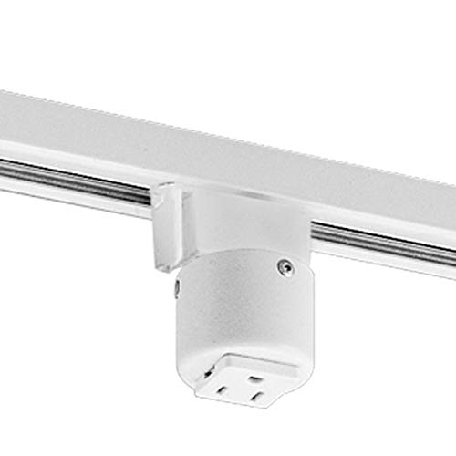 Progress Lighting P8751-28 Outlet Adapter Grounded Convenience Outlet Mounts On Track with Maximum of 20 Amps, Bright White