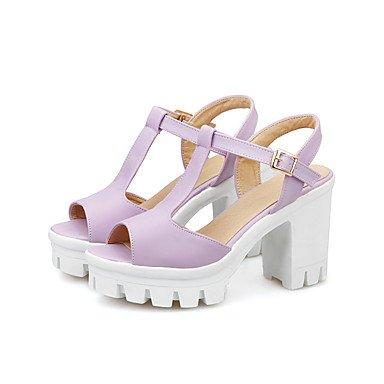 Trabajo Zapatos Robusto Tacón Oficina Rosa Sandalias del Pink Vestido y club Morado LvYuan Mujer Blanco Azul Informal PU tqFpSFz