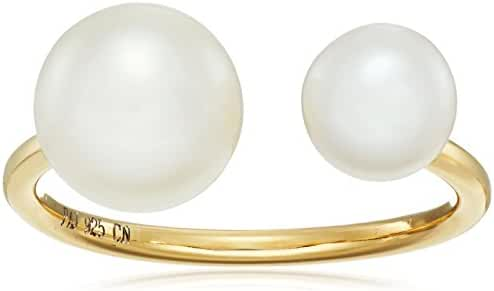18k Yellow Gold Plated Sterling Silver Genuine White Pearl 6.5-7mm and 8.5-9mm Open Adjustable Ring, Size 7