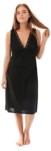 Ladies Full Slip enaguas enaguas Cling resistente en blanco o negro By Undercover Black V Neck