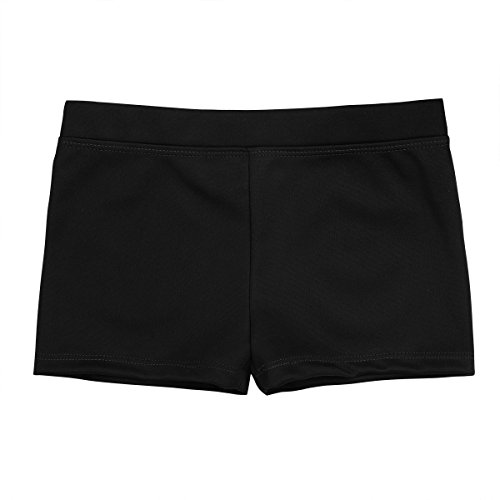 dPois Big Girls' Boy Cut Low Rise Gymnastics Sports Ballet Dance Stretch Shorts Workout Cycling Hot Pants Black ()