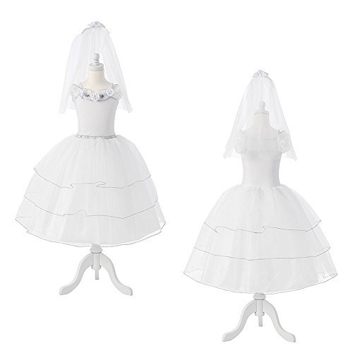 KidKraft White Rose Bride Dress Up Costume - XS