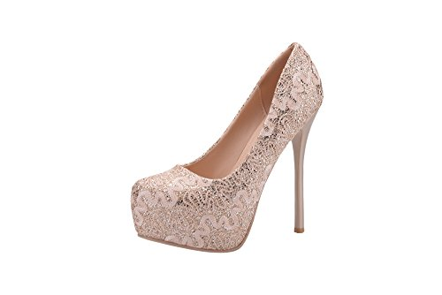 Mila Lady (FAY Embroidered Lace Elegance Sky-high Sparkles Platform Lady Heels,GOLD6.5 -