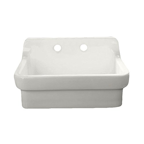 (American Standard 9062008.020 Country Kitchen Sink with 8-Inch Centers, 23.80 in wide x 22.00 in tall x 30 in deep, White)