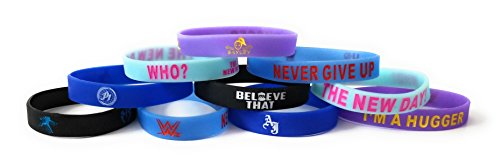 WWE - GLOW IN THE DARK bracelets kids party favors Bayley New Day John Cena AJ Styles Roman Reigns (10 pack) -