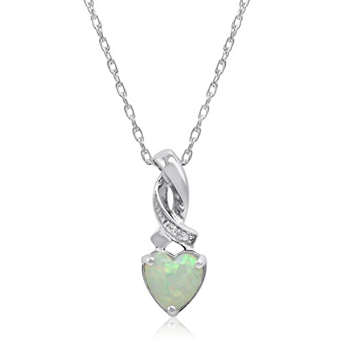 Created Opal Heart Shaped and Diamond Pendant-Necklace in Sterling Silver ()