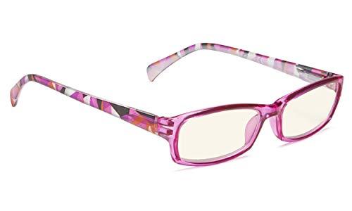 Fashion Ladies Computer Glasses - Pattern Design Readers Eyeglasses (Purple, 3.00) ()