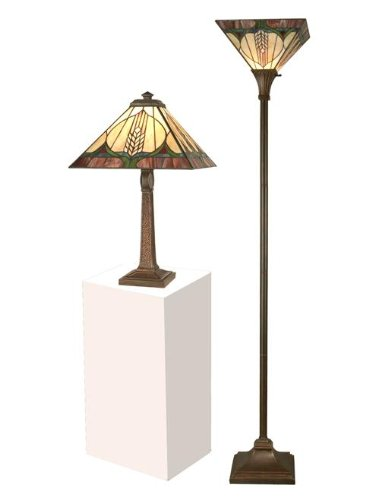Dale Tiffany TC11173 Stanton Mission Table Lamp and Torchiere Set, Antique Bronze and Verde - Dale Tiffany Mission Floor Lamp