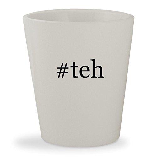 #teh - White Hashtag Ceramic 1.5oz Shot Glass