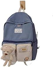 شنطة ظهر مدرسية بتصميم مزين بدب لطيف للمراهقين - مناسبة للسفر - لون ازرق فاتح