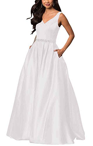 (Yinyyinhs Women's V Neck Prom Dresses A Line Long Beaded Evening Formal Gowns with Pockets Size 2)