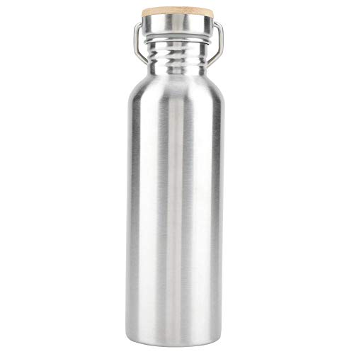 (Zerodis Stainless Steel Water Bottle,Outdoor Portable Water Cup Drink Bottle with Bamboo Cap Travel Mug for Cyclists Runners Hikers Picnics Camping (750ml))