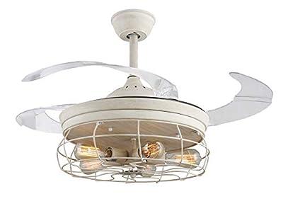 42'' Ceiling Fans Invisible Retractable Blades Farmhouse Industrial Pendant Lamp Chandelier Remote Control 5 Edison Bulbs (Antique White) (Youtube video demo)