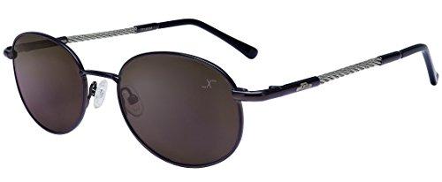 Xezo Titanium & Steel Cable Wire Polarized Sunglasses Anti-Reflective Mirror Lenses, Dark Gun Metal, 0.8 - Face Men Oblong Glasses