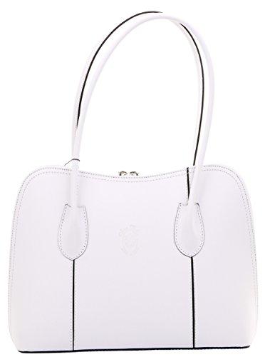Primo Sacchi Italian Smooth White Leather Classic Long Handled Handbag Tote Grab Bag Shoulder Bag