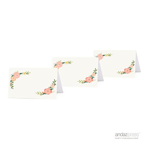 Andaz Press Table Tent Printable Place Cards on Perforated Paper, Tea Party Floral Print, Blank Border, -
