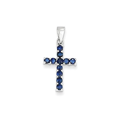 Jewels By Lux 14k White Gold Sapphire Cross (Antique Sapphire Cross)