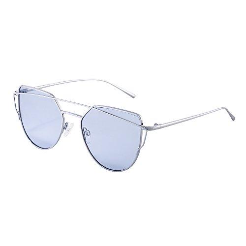 Lunettes Beams Œil avec Transparent UV400 Gradient Miroir Lentilles Argenté Homme Soleil de Miroir Bleu Twin Femme Chat de zqEzwpr