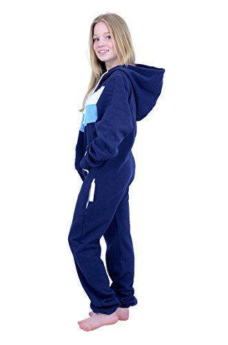 The Classic Unisex Onesie in Inky Blue with White & Sky Stripes. Perfect adult onepiece jumpsuit FREE bag from Charlie McLeod