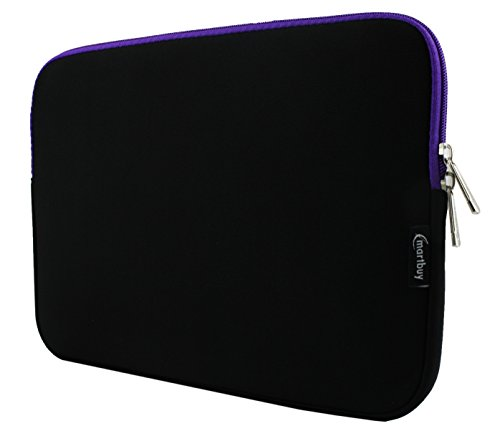 Emartbuy Black/Purple Water Resistant Neoprene Soft Zip Case Cover Sleeve with Purple Interior and Zipper 11-12 Inch Suitable for Selected Devices Listed Below